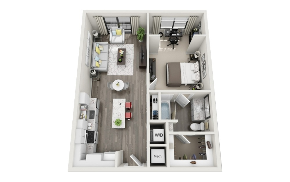 A2 - 1 bedroom floorplan layout with 1 bath and 763 square feet.