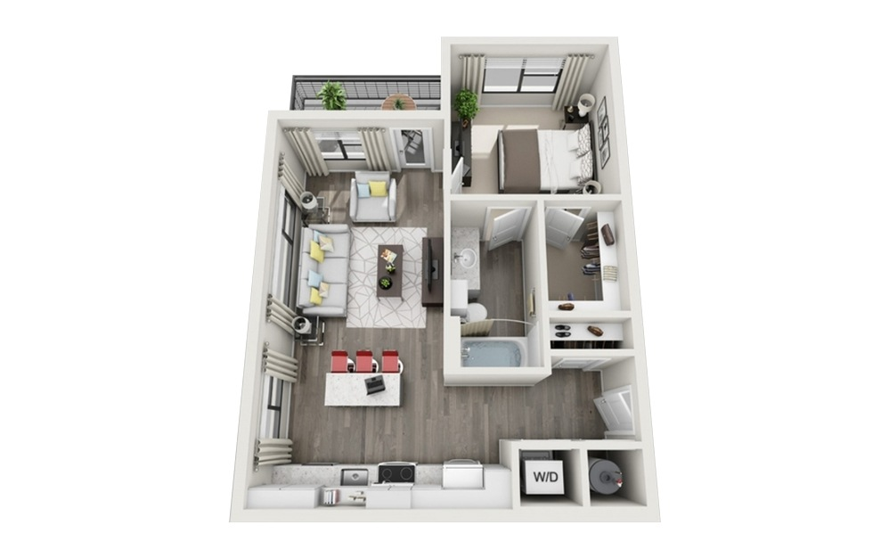 A3 - 1 bedroom floorplan layout with 1 bath and 663 square feet.