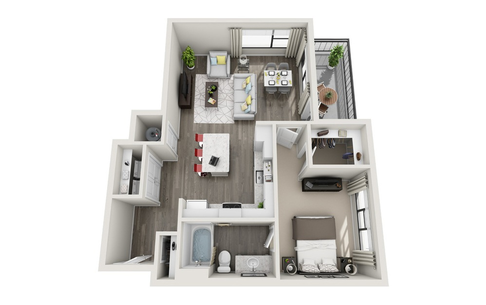 A4 - 1 bedroom floorplan layout with 1 bath and 827 square feet.