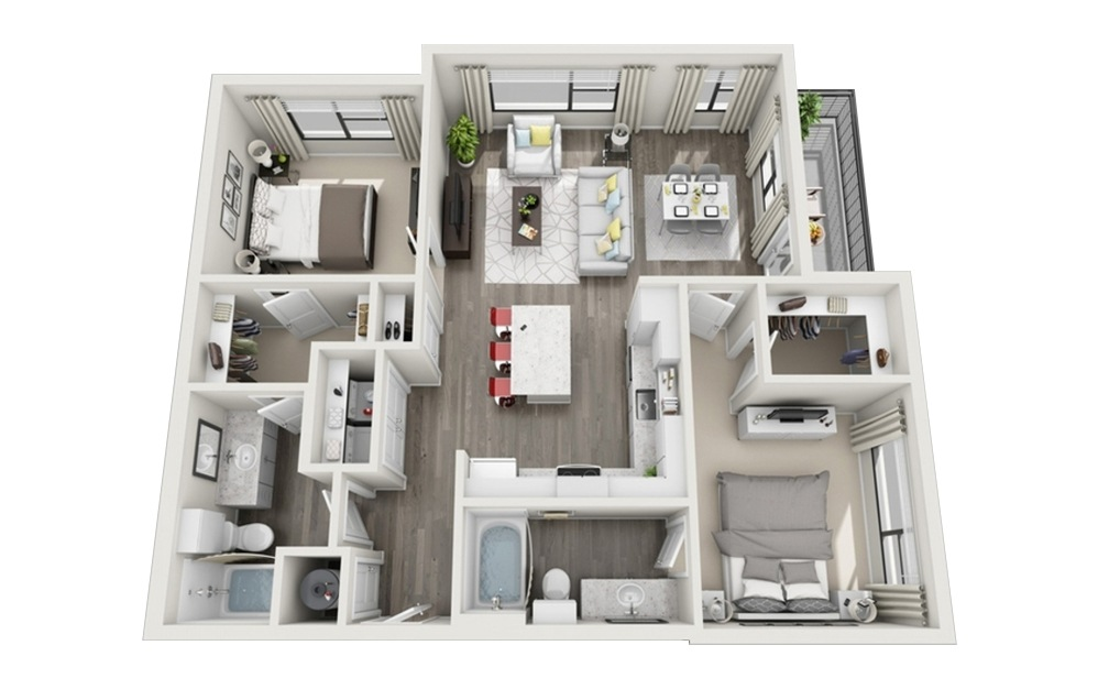 B1 - 2 bedroom floorplan layout with 2 baths and 1108 square feet.