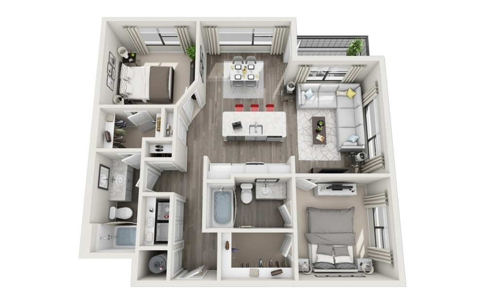 B2 - 2 bedroom floorplan layout with 2 baths and 1068 square feet.