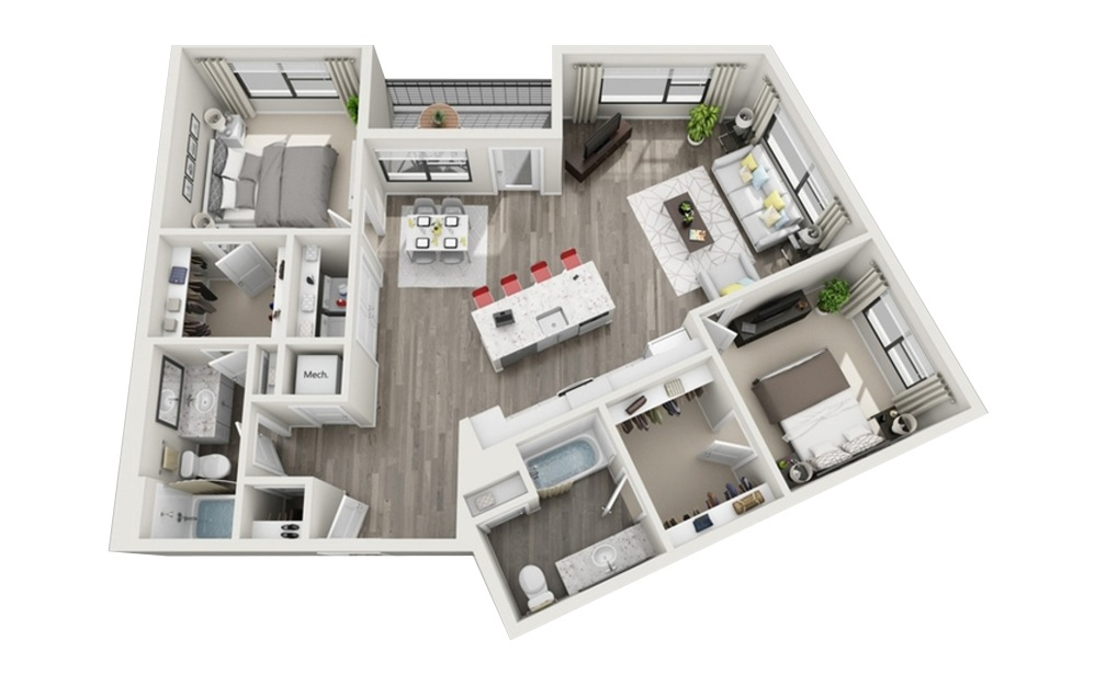 B3 - 2 bedroom floorplan layout with 2 baths and 1225 square feet.