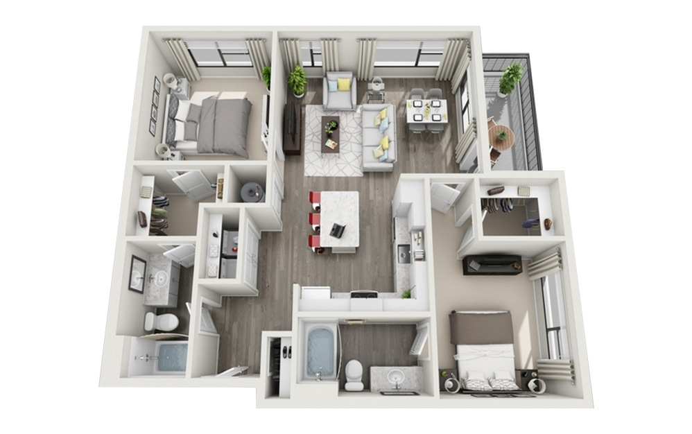 B4 - 2 bedroom floorplan layout with 2 baths and 1106 square feet.