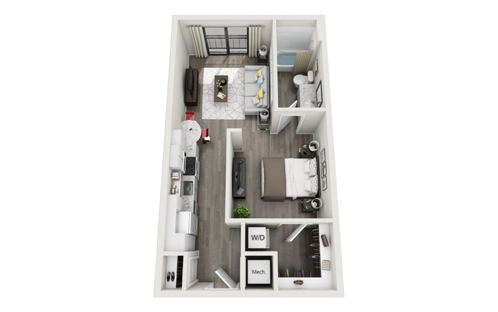 S1 - Studio floorplan layout with 1 bath and 592 square feet.